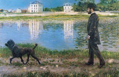 Gustave Caillebotte Richard Galloy su perro en Petit Gennevilliers razas de perros